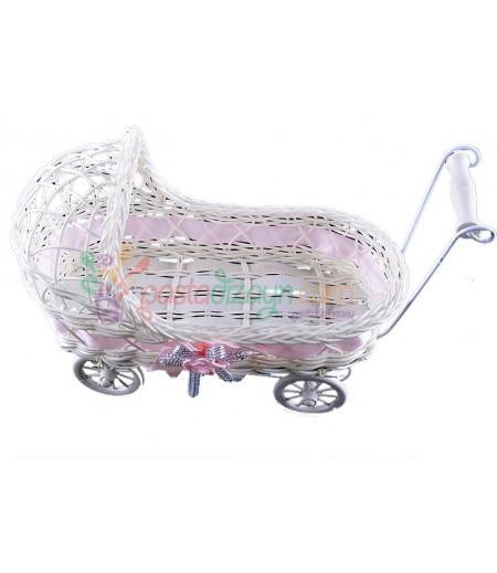 Pembe Renk Hasır Bebek Arabası