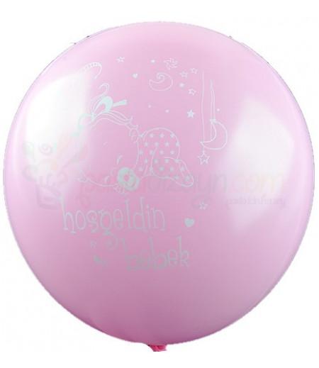 Pembe Renk Hoşgeldin Bebek Balonlar,12 Adet