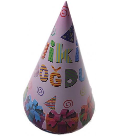 Pembe Renk İyiki Doğdun Karton Şapkalar,6 adet