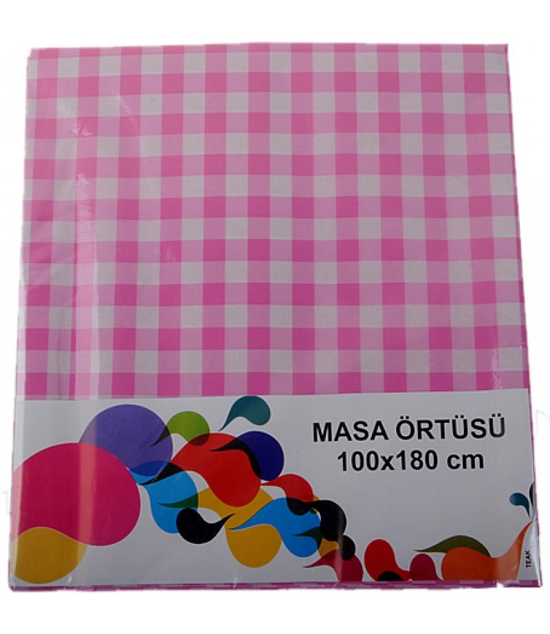 Pembe Renk Kareli Kağıt Masa Örtüsü