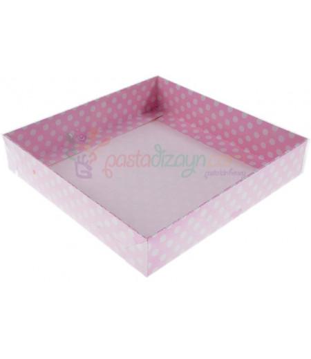 Pembe Renk Puantiyeli Asetat Kutular,15x15cm