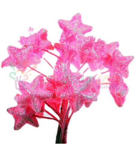 Pembe Renk Simli,Yıldızlı Süsleme Cicekleri