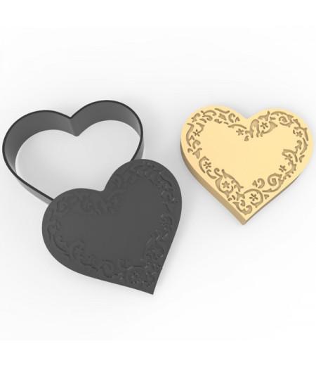 Plastik İşlemeli Kalp Desenli Kurabiye Kesici Damga Seti