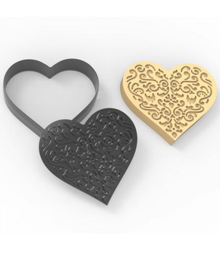 Plastik İşlemeli Kalp Desenli Kurabiye Kesici Damga Seti-1
