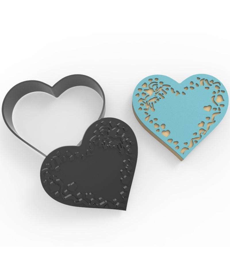Plastik İşlemeli Kalp Desenli Kurabiye Kesici Damga Seti-3