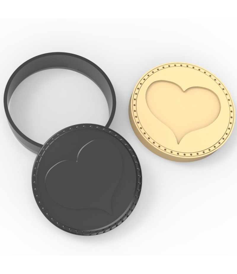 Plastik Şeritli Kalp Desenli Kurabiye Kesici Damga Seti
