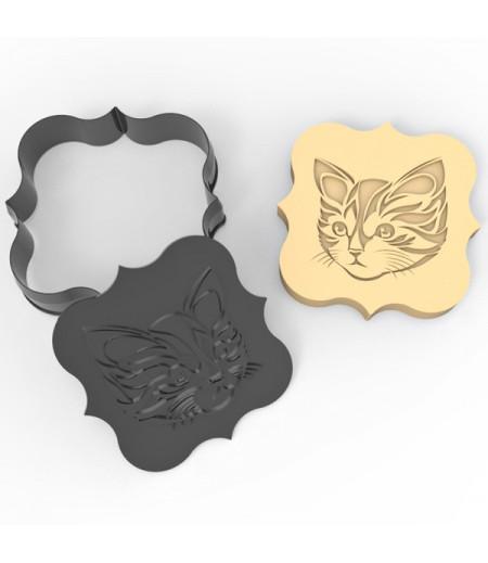Plastik Sevimli Kedi Desenli Kurabiye Kesici Damga Seti