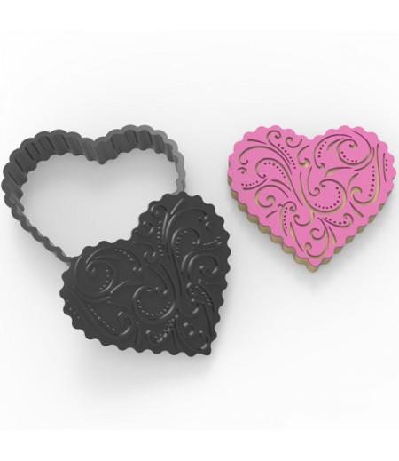 Plastik Tırtıklı Kalp Desenler Temalı Kurabiye Kesici Damga Seti