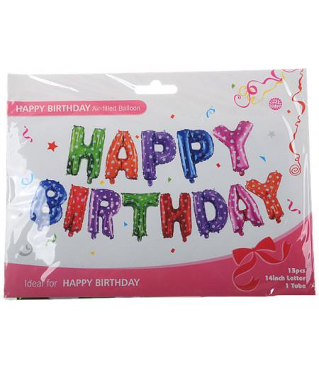 Renkli Happy Birthday Yazılı Folyo Balonlar