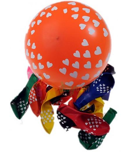 Renkli Kalpli Balon Seti,12 Adet