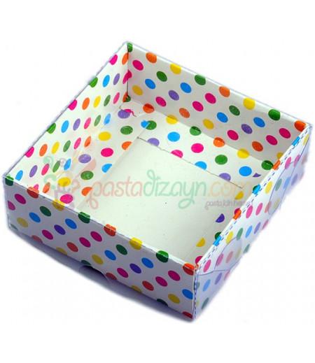Puantiyeli Renkli Asetat Kutular,9x9x3cm,5 Adet