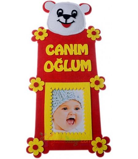 Sarı Kırmızı Erkek Bebek Fotograf Çerçeve