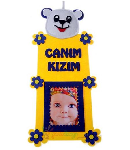 Sarı Lacivert Kız Bebek Fotograf Çerçeve