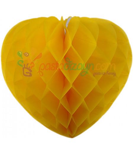 Sarı Renk Kalpli Petek Parti Süslemesi,30cm