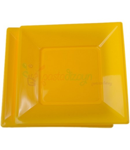 Sarı Renk Plastik Kare Tabaklar,8 adet