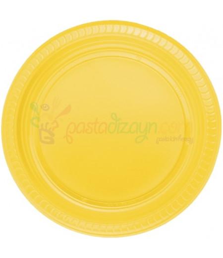 Sarı Renk Plastik Tabaklar,25 adet