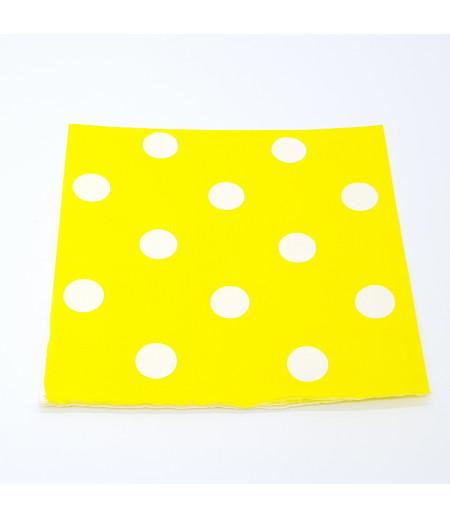 Sarı, Beyaz Puantiyeli 20 li Kağıt Peçete
