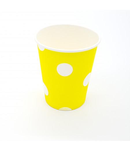 Sarı, Beyaz Puantiyeli 8 li Kağıt Bardak