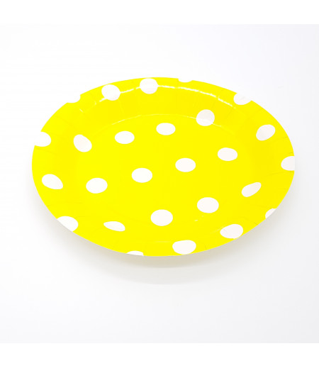 Sarı, Beyaz Puantiyeli 8 li Kağıt Tabak