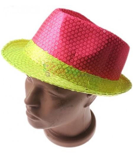 Parti İçin Fosforlu Pembe,Sarı Şapka