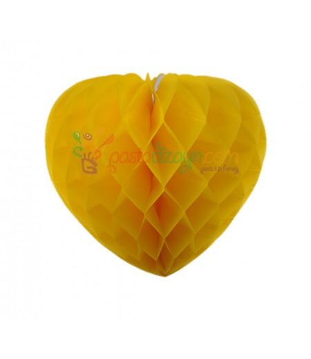 Sarı Renk Kalpli Petek Parti Süslemesi,15cm