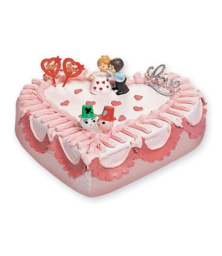 Sevgililer Pasta Süsü (2 Sevgili,aşk plaketi,2 Kalp,2 Yüzük)