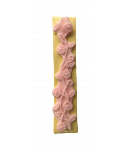 Silikon Çiçek Yaprak Desenli Pasta,Sabun,Kokulu,Taş Dekoratf Kenar Kalıbı