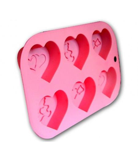 Silikon Kalp Desenli Muffin Kalıplar
