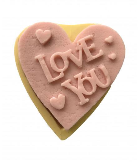 Silikon Love You Yazılı Kalp Sabun Mum Kokulu Taş Kalıbı