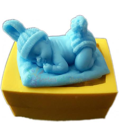 Silikon Uyuyan Ponponlu Bebek Kalıbı