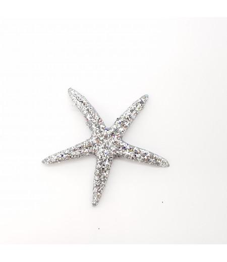 Simli Deniz Yıldızı Desenli Küçük Süsleme Gümüş