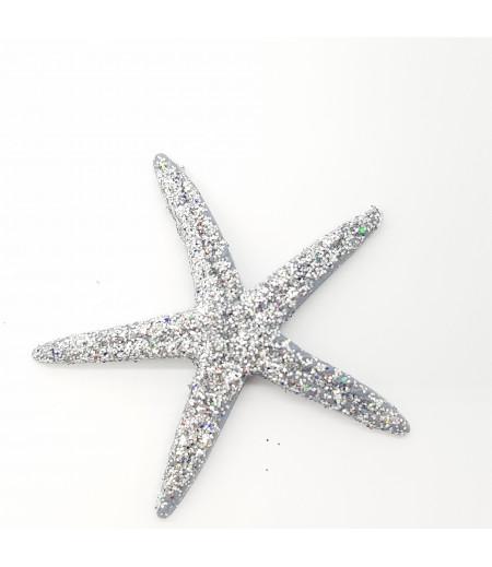 Simli Deniz Yıldızı Desenli Süsleme Gümüş