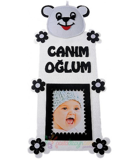 Siyah Beyaz Erkek Bebek Fotograf Çerçeve
