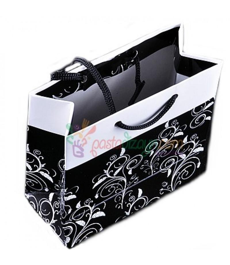Siyah Desenli Karton Çanta,8 Adet