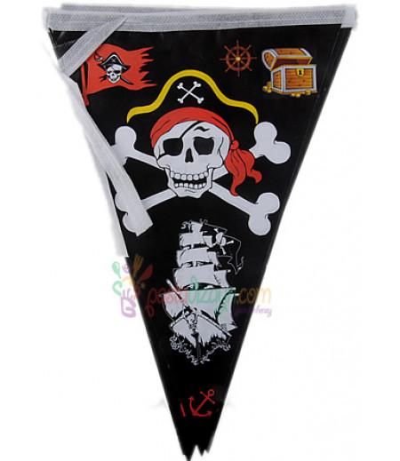 Siyah Renk Korsan Temalı Flamalar,Paket