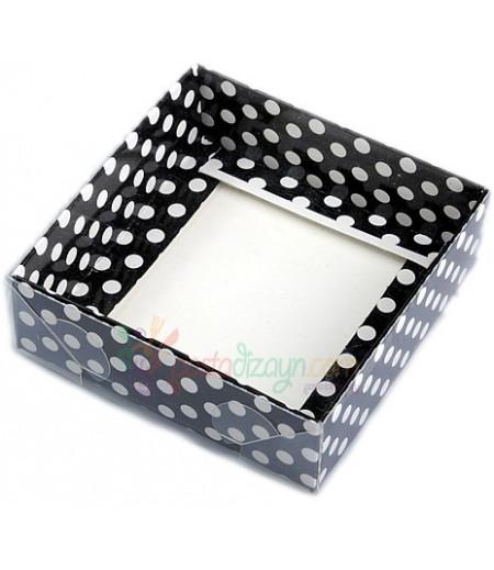 Siyah,Beyaz Puantiyeli Asetat Kutular,8x8x3cm