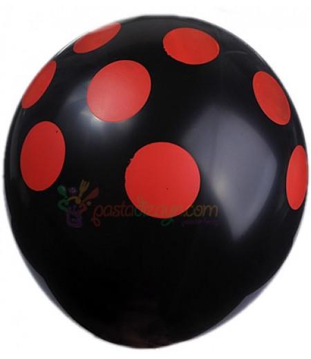 Siyah,Kırmızı Puantiyeli Balon Seti,12 Adet