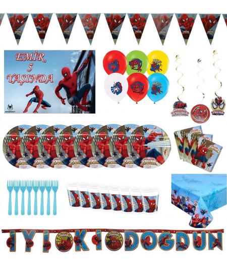 spiderman konseptli doğumgünü seti 8 kişilik