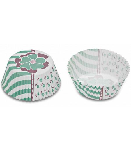 Stadter,Turkuaz Renk Çiçekli Muffin Kapsülü,50 Adet,5x3cm