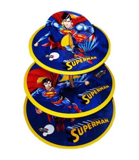 Superman Görselli 3 Katlı Kek Standı