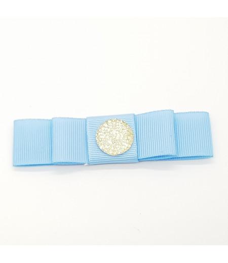 Taşlı Düğme Desenli Grogren Kurdela Süsleme Mavi