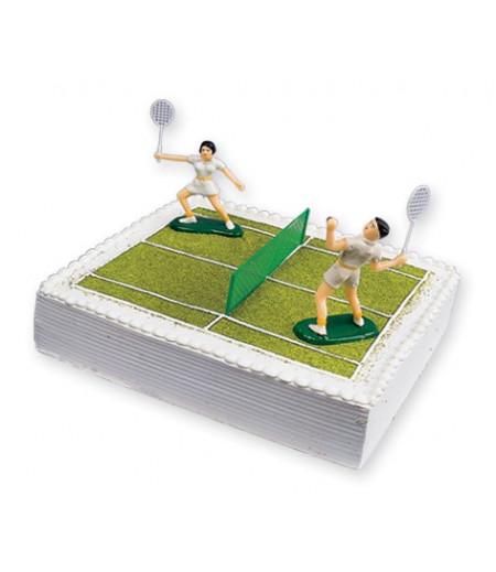 Tenis Oyunculu Pasta Süsü (2 Oyuncu ve 1 File)
