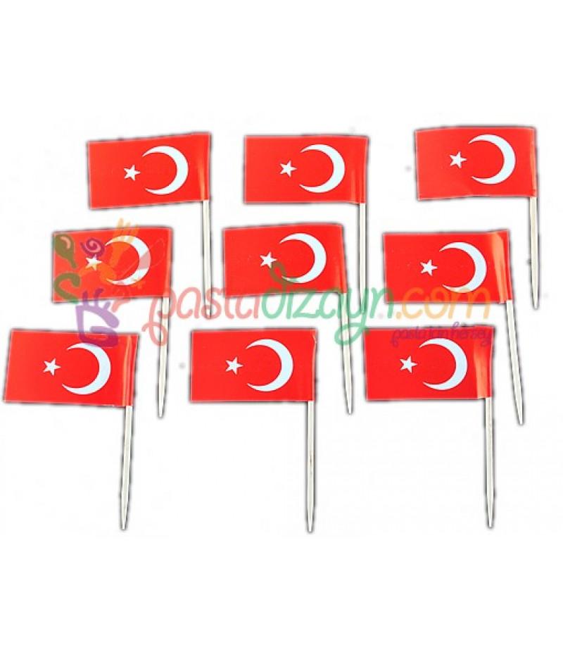 Türk Bayrağı Figürlü Kürdanlar,10 Adet