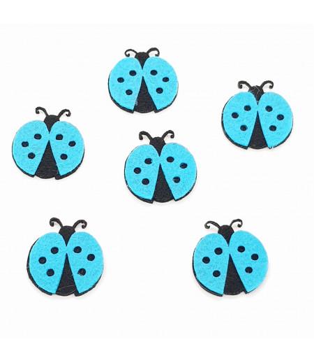 Uğur Böceği Dekor Keçe Süsleme Mavi