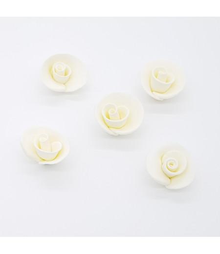 Yenilebilir Beyaz Gül Pasta Kurabiye Süsleme Şekeri