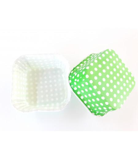 Yeşil,Beyaz Puantiyeli Kare Kek Kapsülü