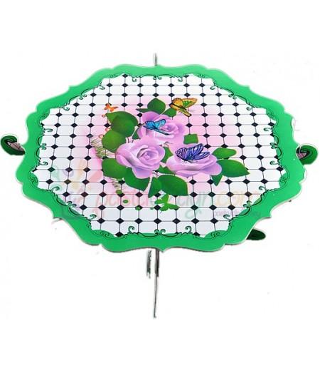 Yeşil Renk Güller Temalı Kek Standı