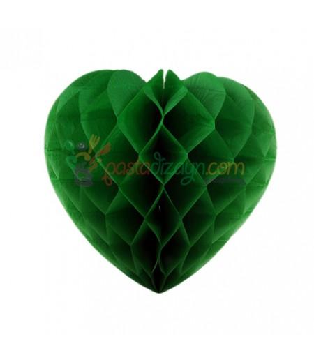 Yeşil Renk Kalpli Petek Parti Süslemesi,15cm