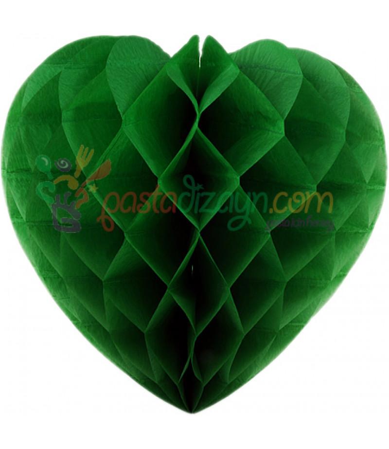 Yeşil Renk Kalpli Petek Parti Süslemesi,30cm