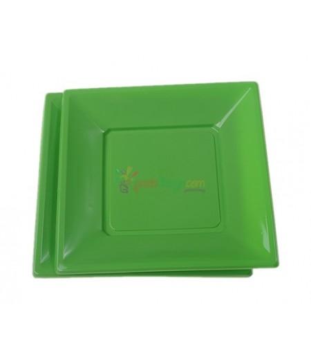 Yeşil Renk Plastik Kare Küçük Tabaklar,8 adet